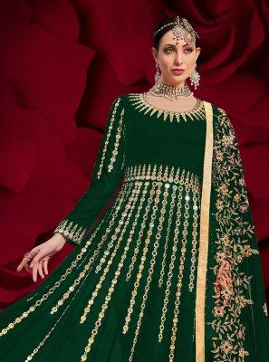 Green Festival Faux Georgette Floor Length Anarkali Suit