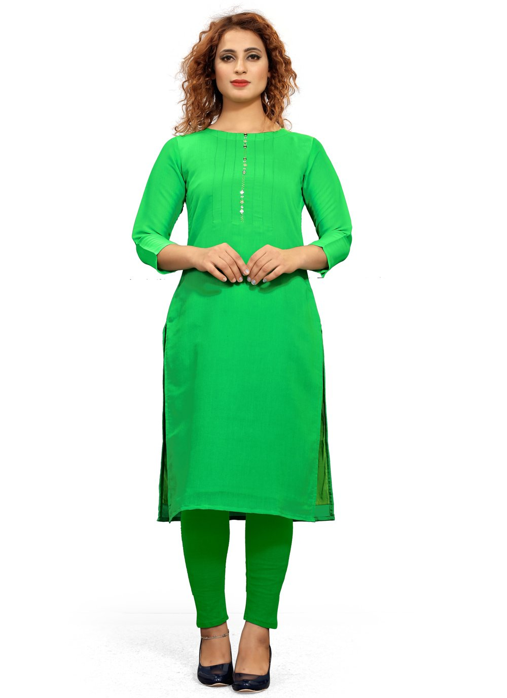 Green Festival Party Wear Kurti