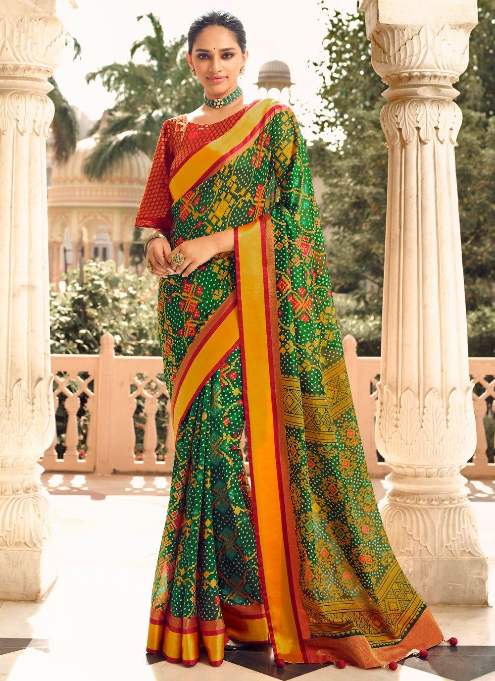 Green Festival Patola Silk  Designer Traditional Saree