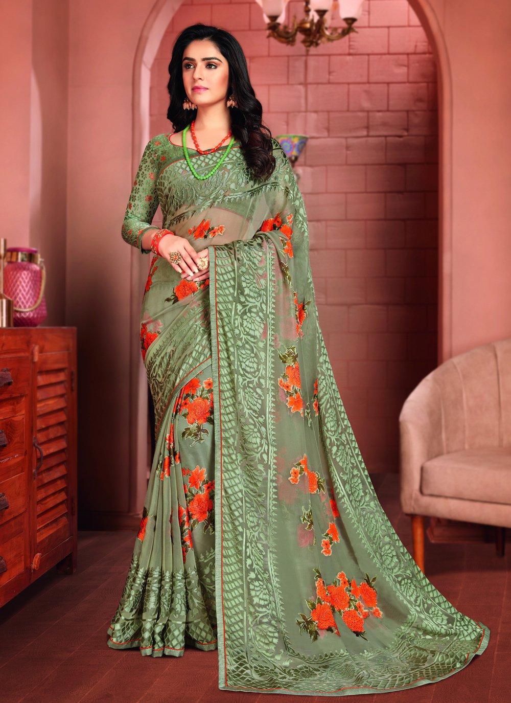 Green Festival Printed Saree