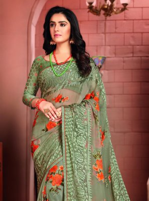 Green Festival Printed Saree