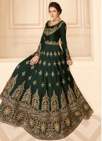 Green Festival Pure Silk Designer Floor Length Salwar Suit