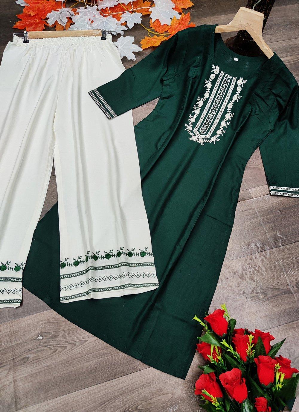 Green Festival Rayon Designer Kurti