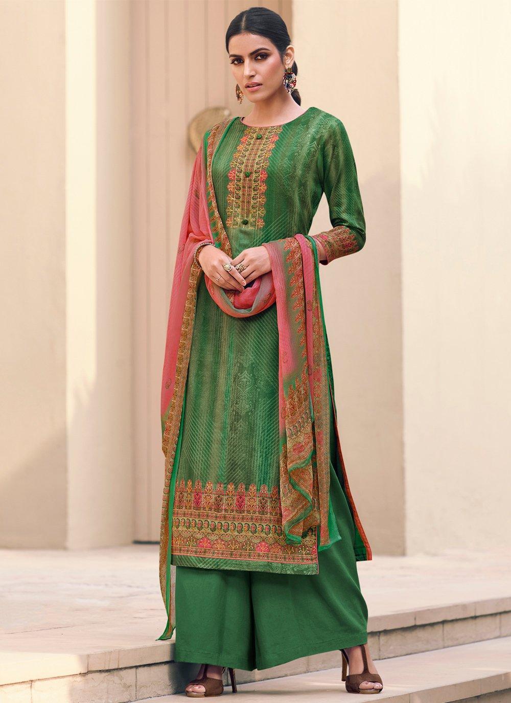 Green Festival Satin Designer Palazzo Suit