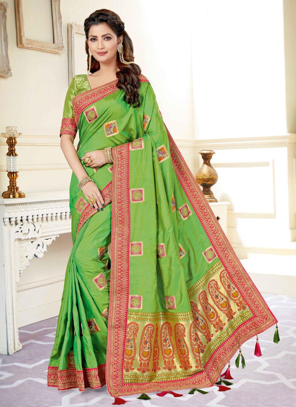 Green Festival Traditional Designer Saree