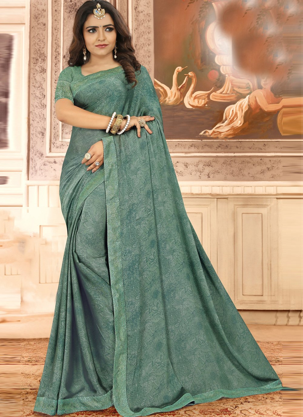 Green Floral Print Traditional Saree