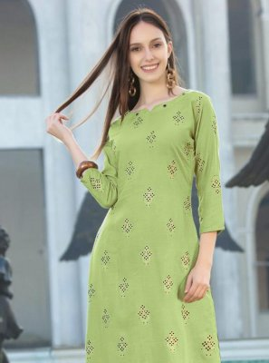 Green Foil Print Festival Party Wear Kurti
