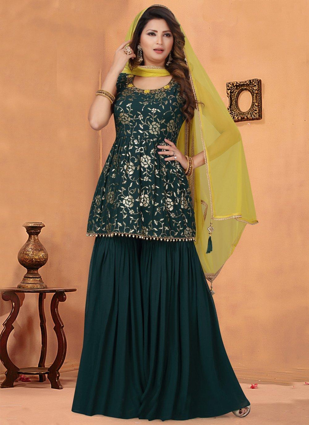 Green Georgette Bollywood Salwar Kameez