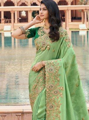 Green Georgette Classic Saree