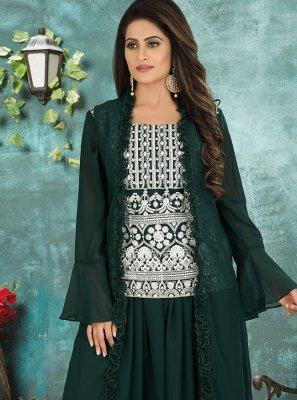 Green Georgette Embroidered Designer Suit
