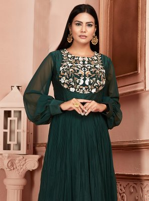Green Georgette Embroidered Readymade Suit