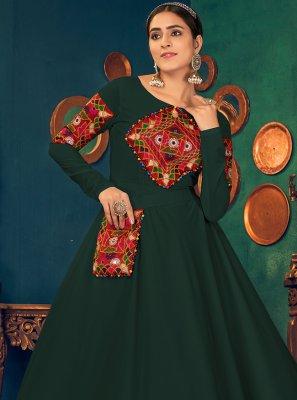 Green Georgette Festival Floor Length Gown