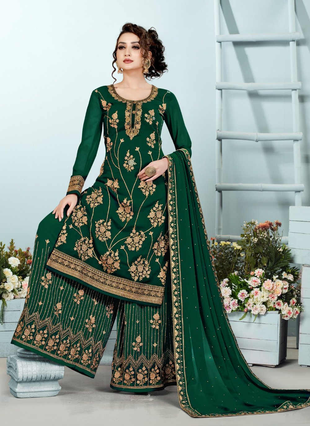 Green Georgette Mehndi Designer Pakistani Suit