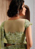 Green Georgette Patch Border Classic Designer Saree