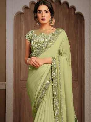 Green Georgette Patch Border Classic Designer Saree