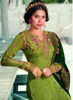 Green Georgette Satin Ceremonial Designer Pakistani Suit