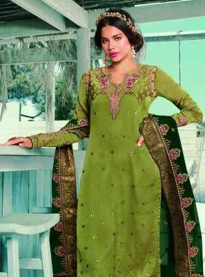 Green Georgette Satin Ceremonial Designer Pakistani Suit