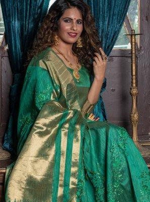Green Handloom silk Fancy Classic Designer Saree