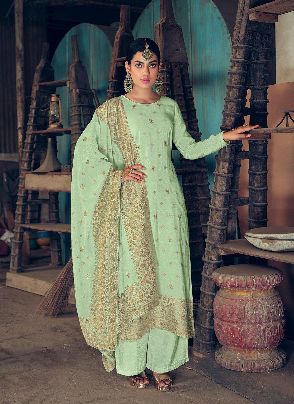 Green Handwork Jacquard Silk Designer Palazzo Salwar Kameez