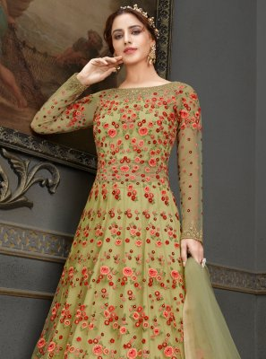 Green Handwork Net Floor Length Anarkali Suit