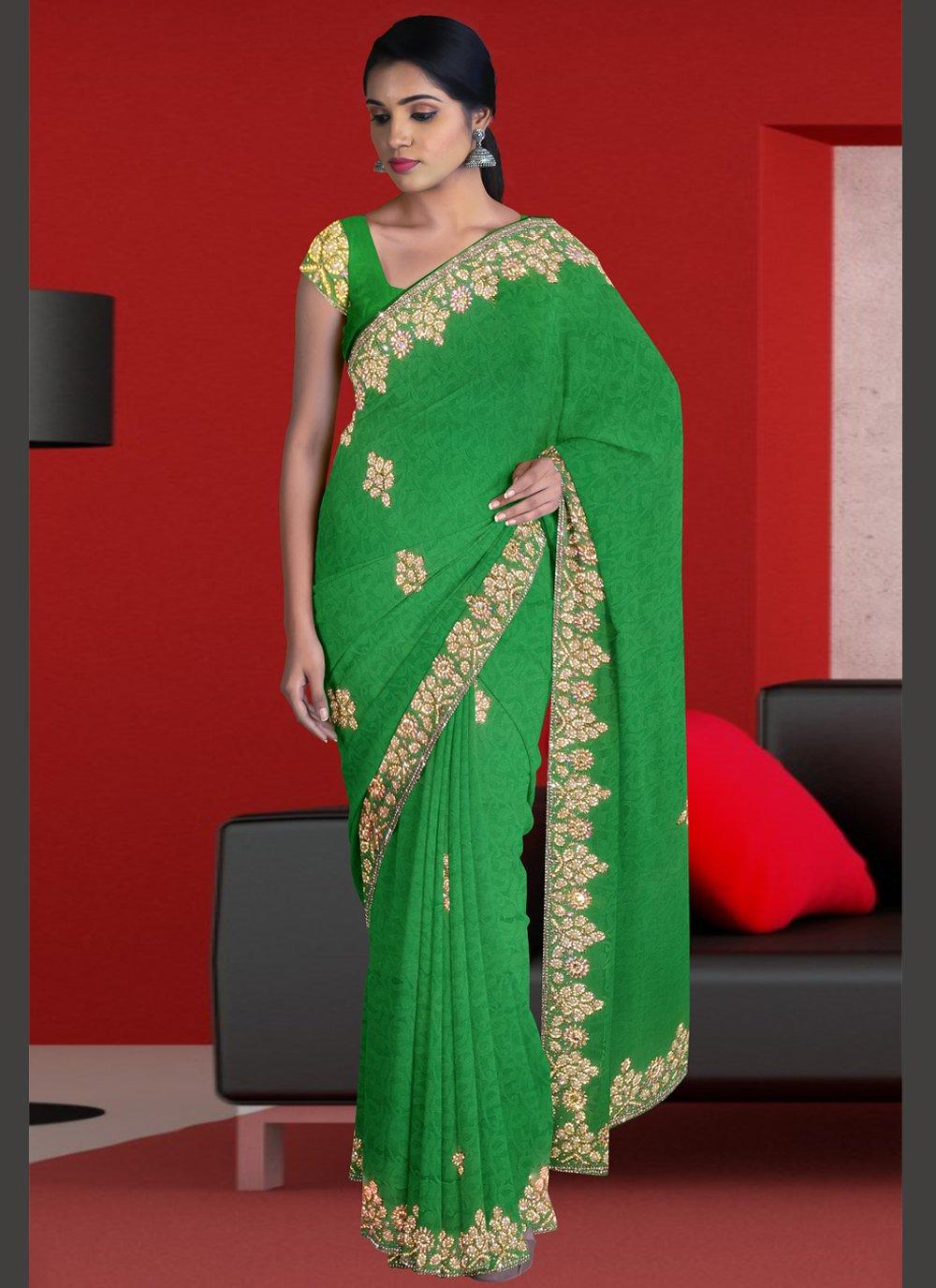 Green Jacquard Ceremonial Designer Traditional Saree