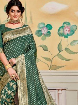 Green Jacquard Work Banarasi Silk Designer Traditional Saree