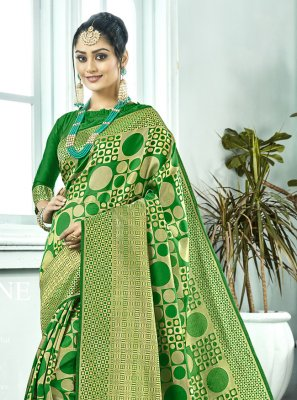 Green Kanchipuram Silk Contemporary Saree
