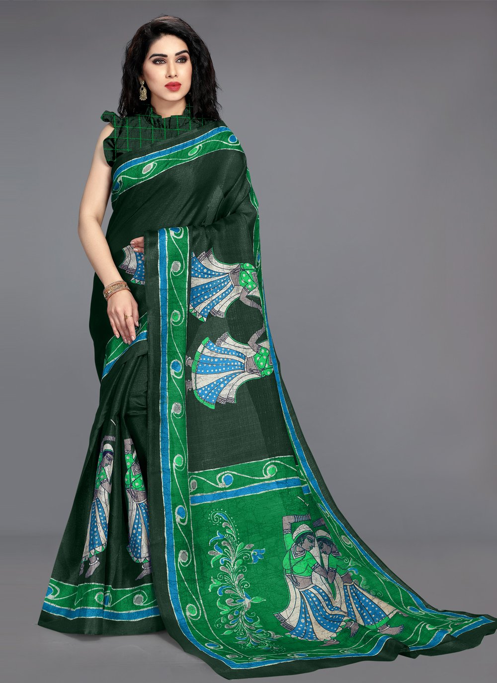 Green Khadi Silk Printed Saree