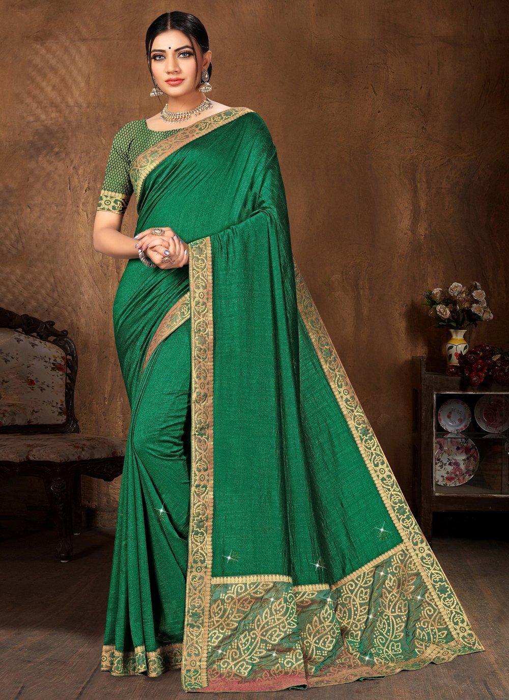 Green Lace Art Silk Traditional Designer Saree