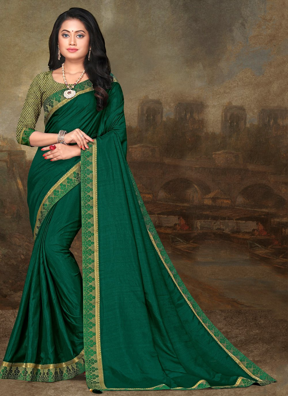 Green Lace Festival Traditional Saree
