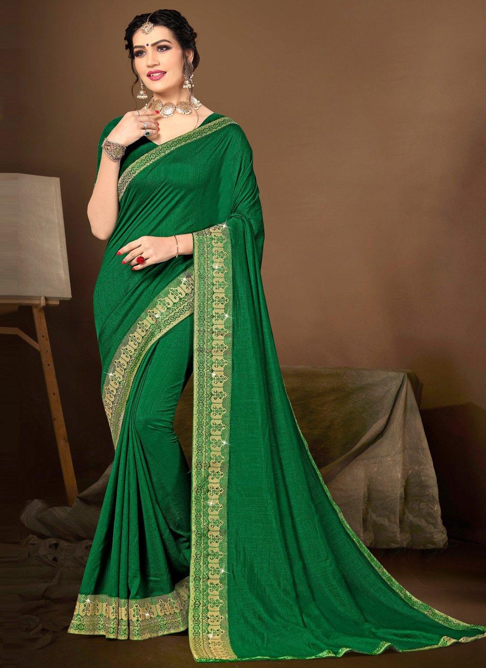 Green Lace Traditional Designer Saree