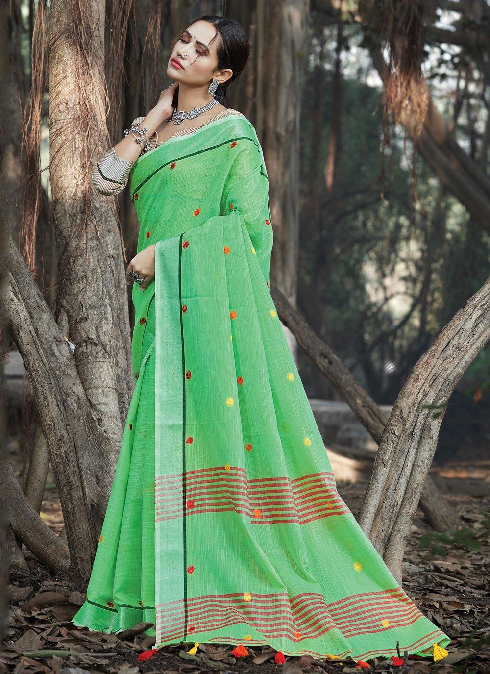Green Linen Classic Designer Saree