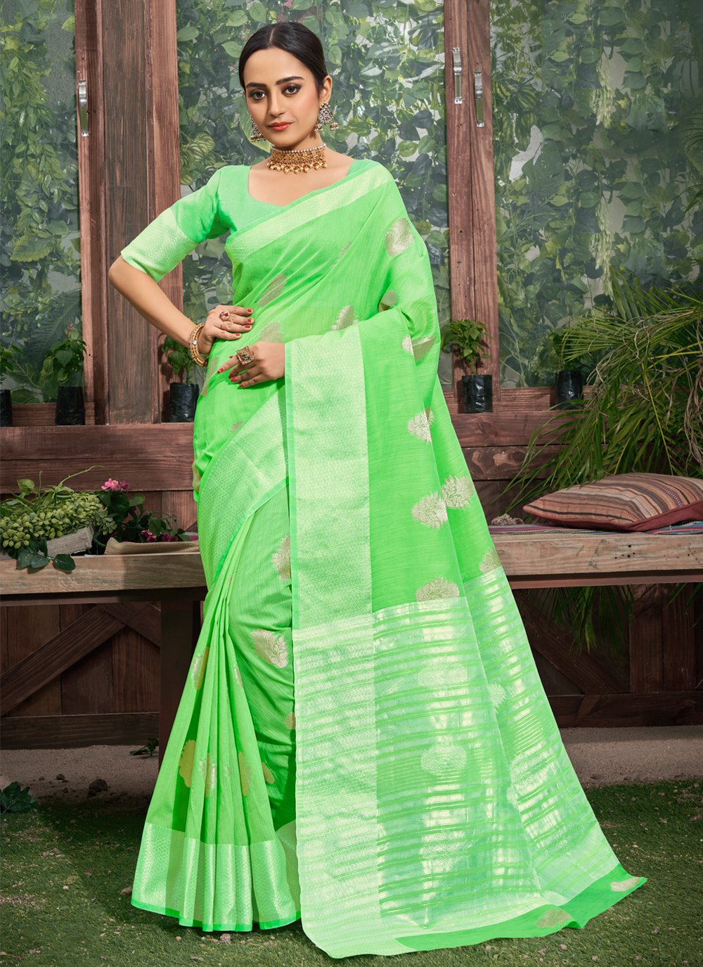 Green Linen Festival Trendy Saree