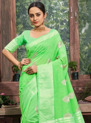 Green Linen Festival Trendy Saree