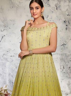 Green Lucknowi Floor Length Anarkali Suit