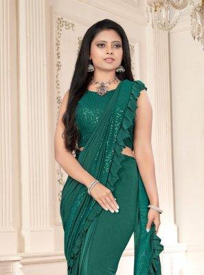 Green Lycra Classic Designer Saree