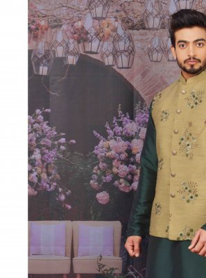 Green Mehndi Art Banarasi Silk Kurta Pyjama