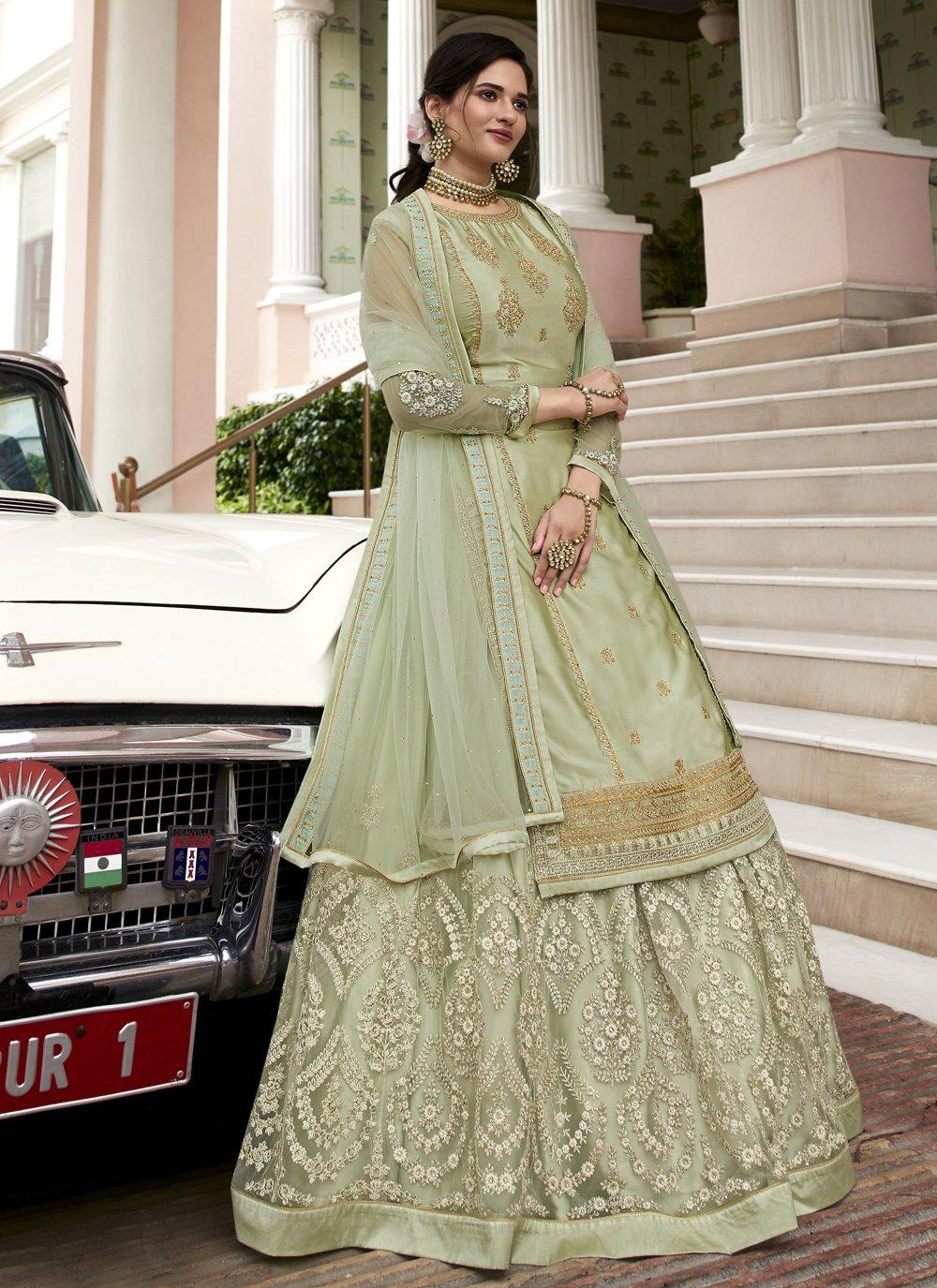 Green Mehndi Designer Long Lehenga Choli