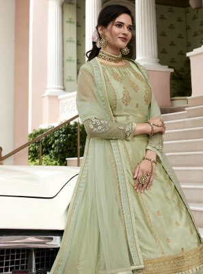 Green Mehndi Designer Long Lehenga Choli