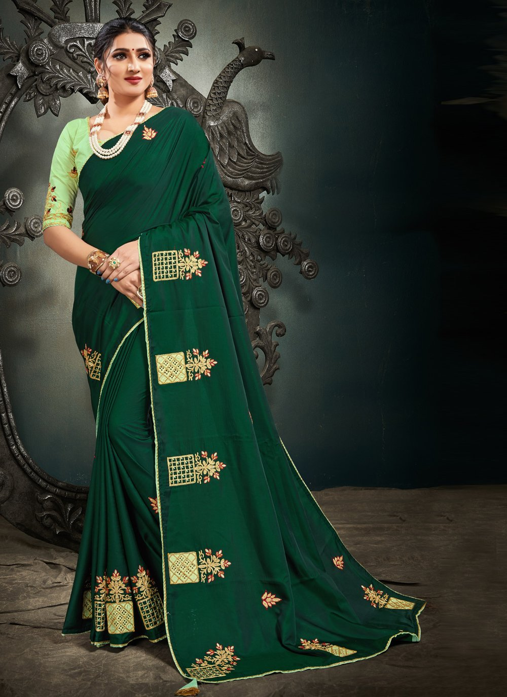 Green Mehndi Designer Saree