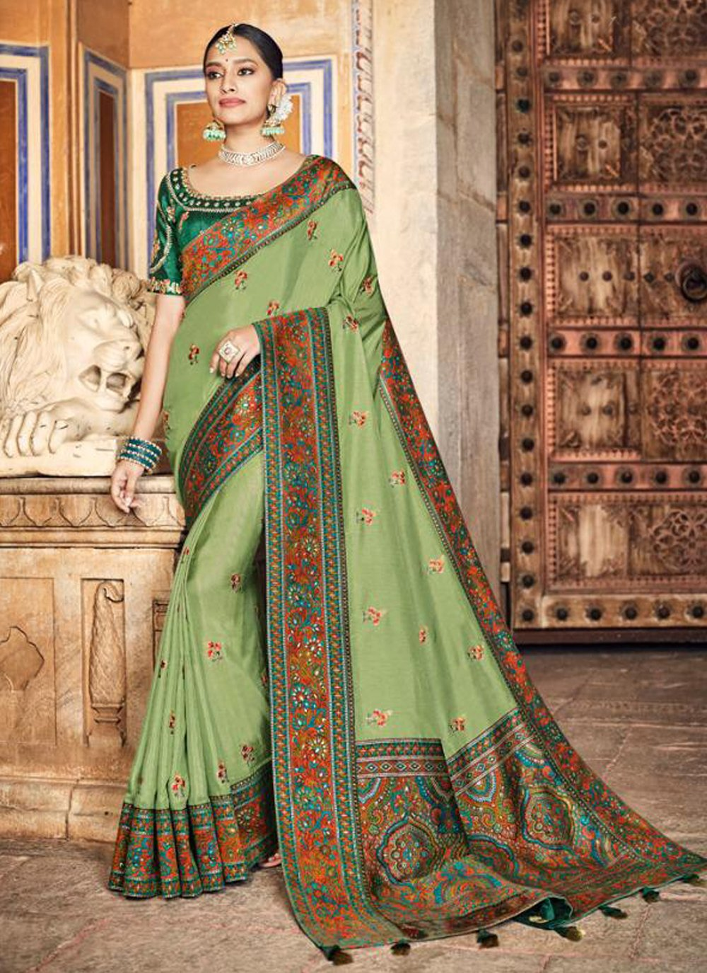 Green Mehndi Designer Traditional Saree