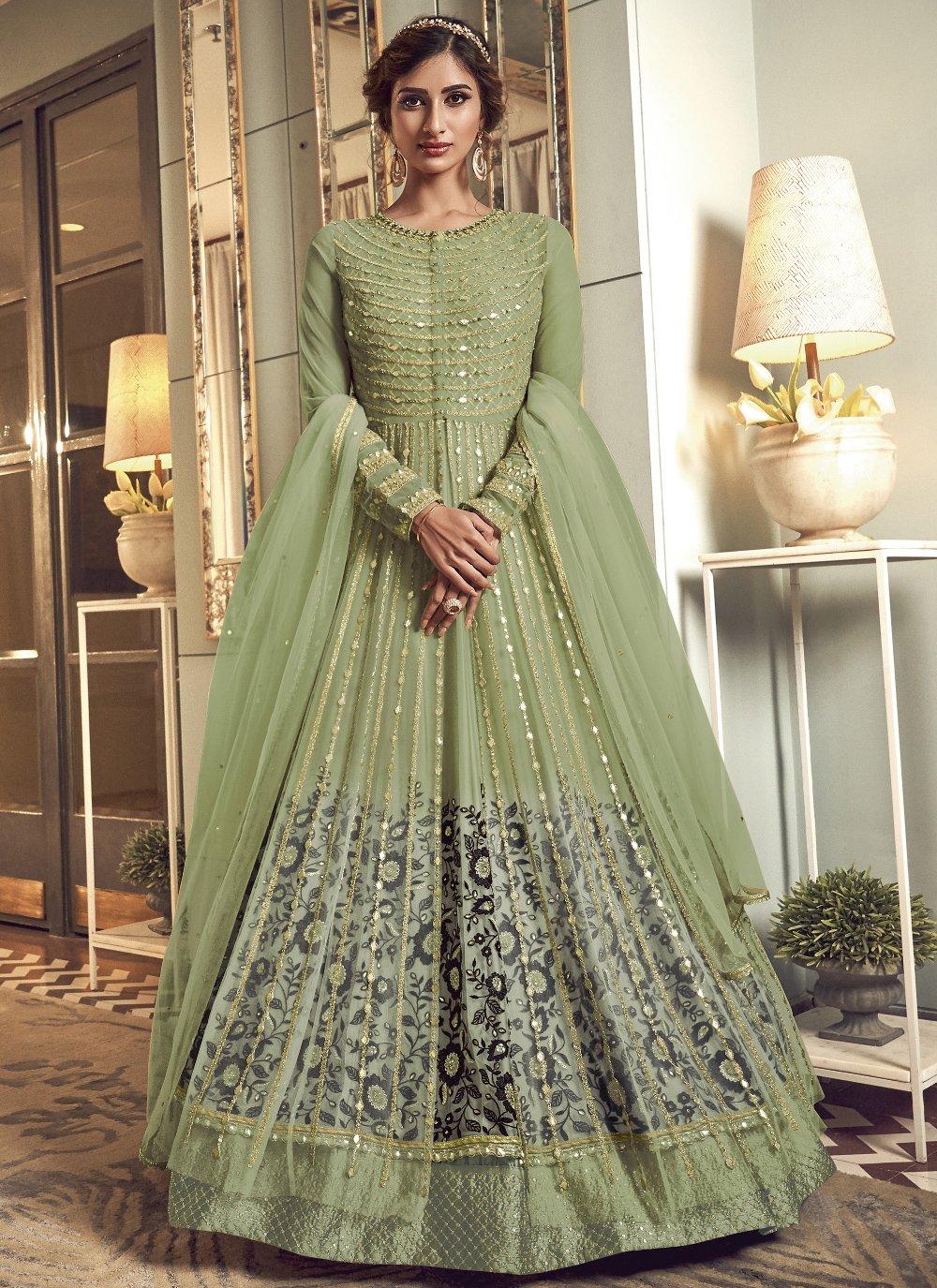 Green Mehndi Floor Length Anarkali Salwar Suit