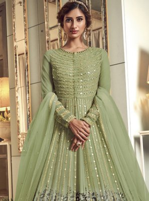 Green Mehndi Floor Length Anarkali Salwar Suit