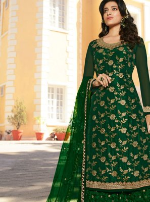 Green Mehndi Jacquard Palazzo Designer Salwar Kameez