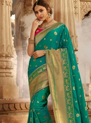 Green Mehndi Traditional Designer Saree