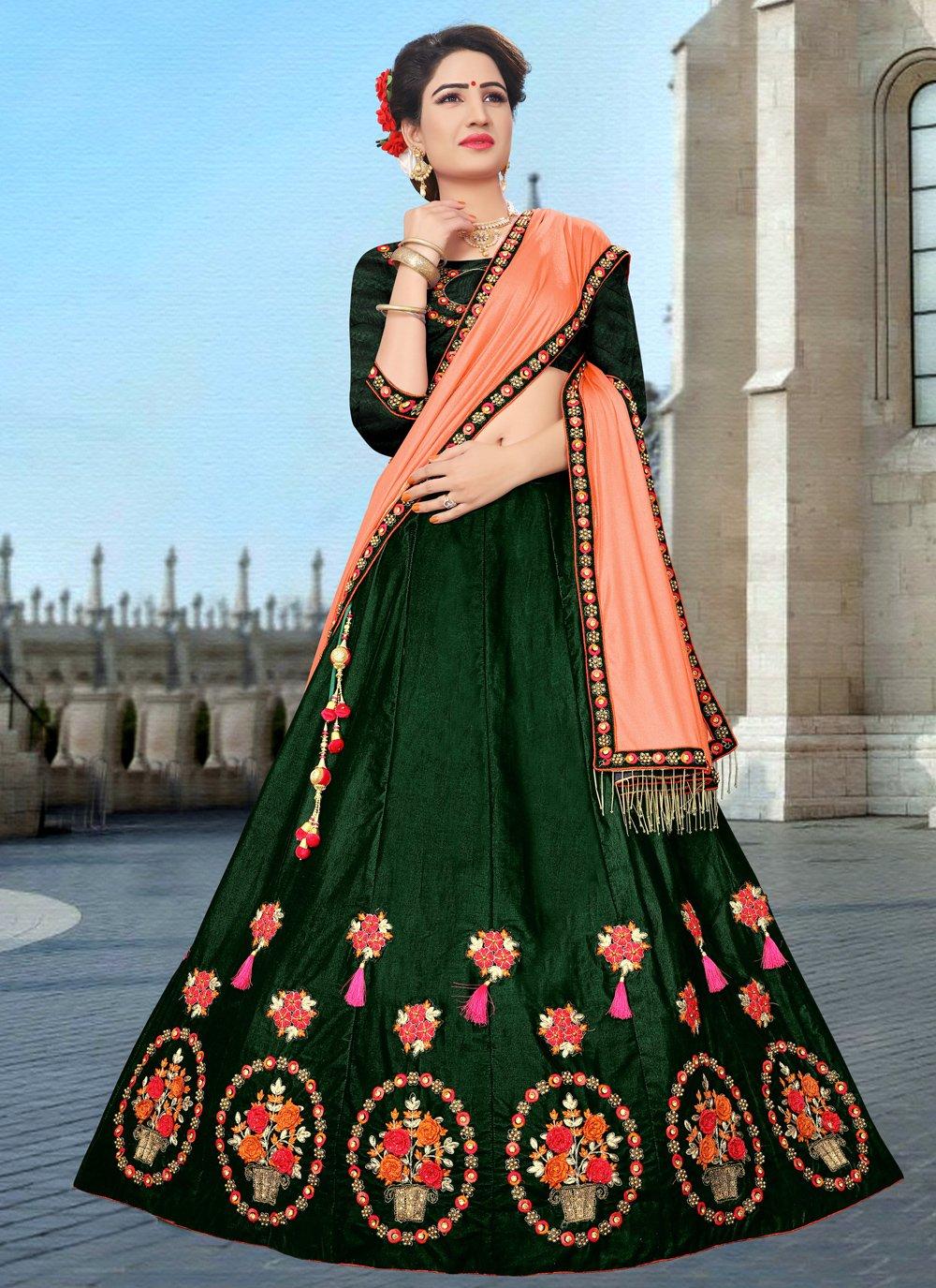Green Mehndi Velvet A Line Lehenga Choli