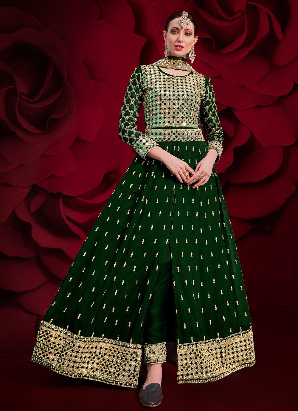 Green Mirror Floor Length Anarkali Suit