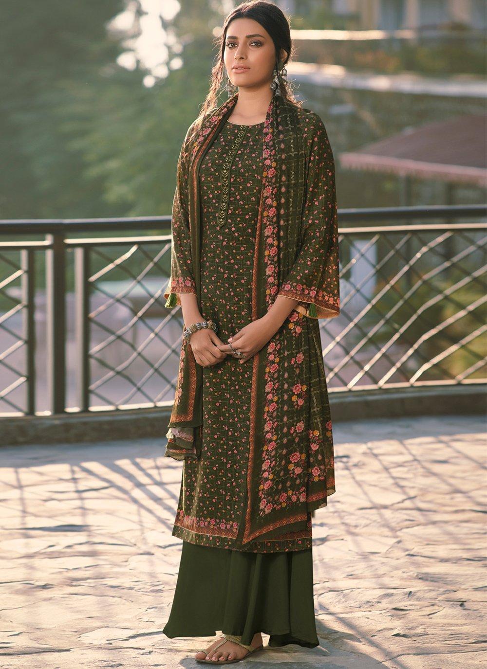 Green Muslin Designer Salwar Kameez