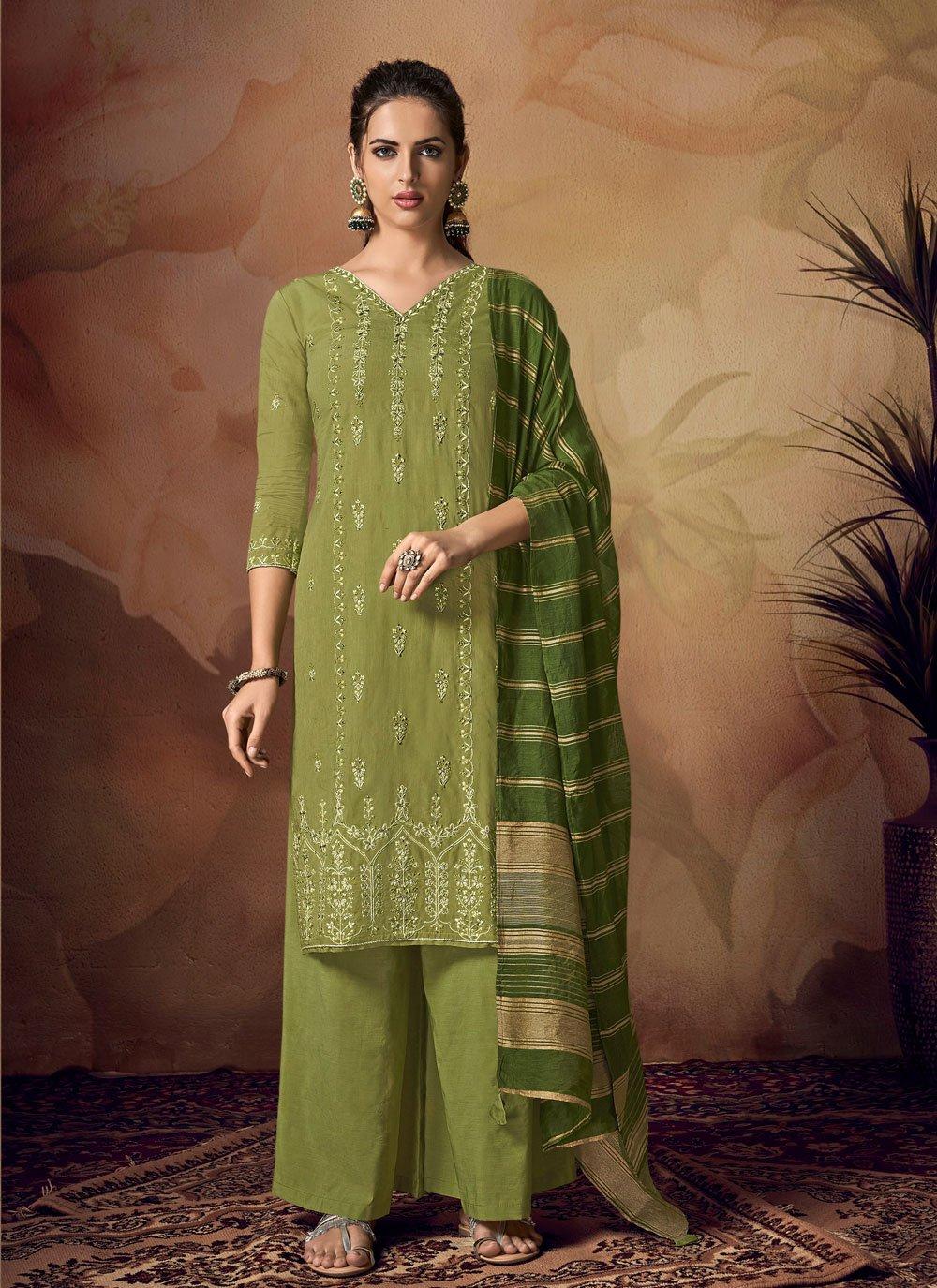 Green Muslin Embroidered Designer Palazzo Salwar Kameez