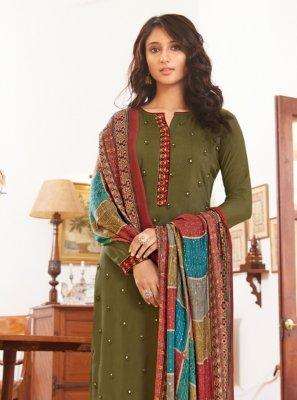 Green Muslin Festival Designer Straight Salwar Suit